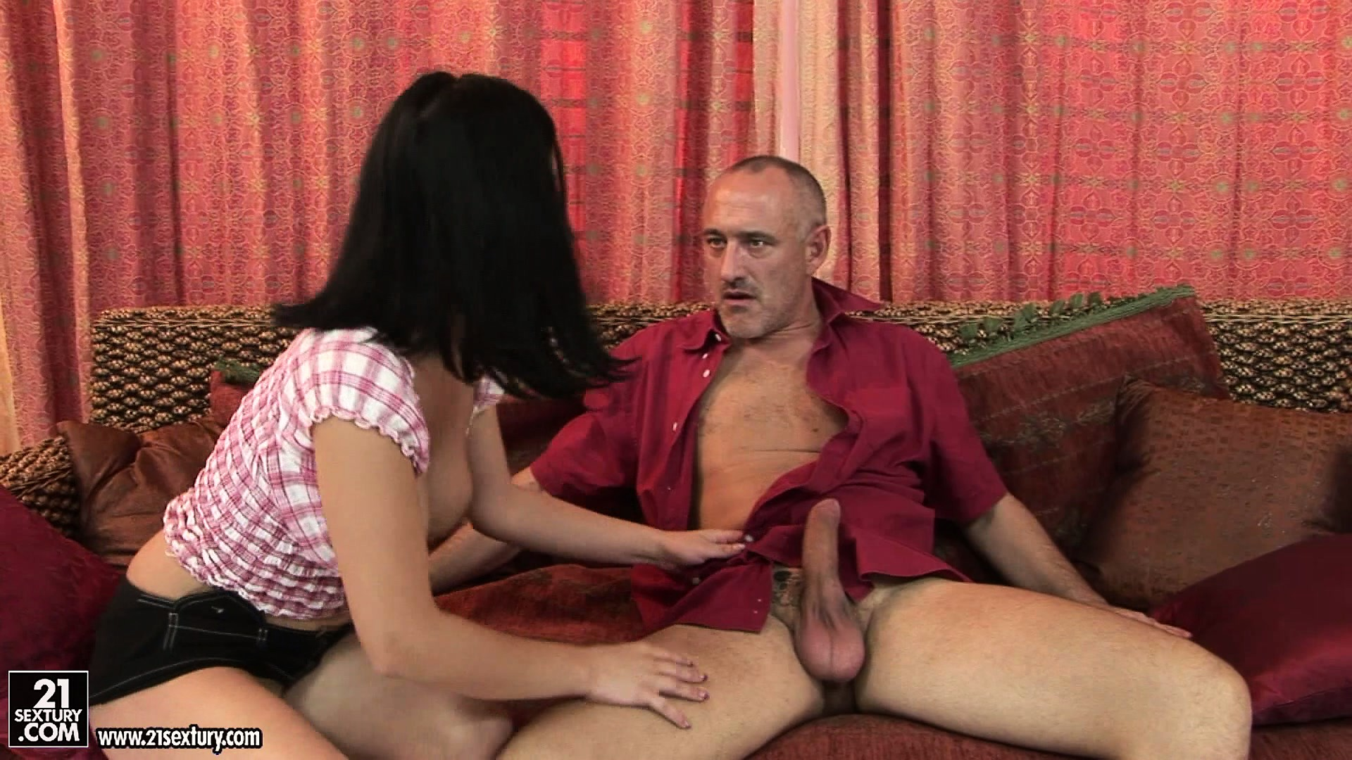 Sex Movie of Horny Brunette Comes Over To Give Grandpa A Thrill And Sucks His Rod