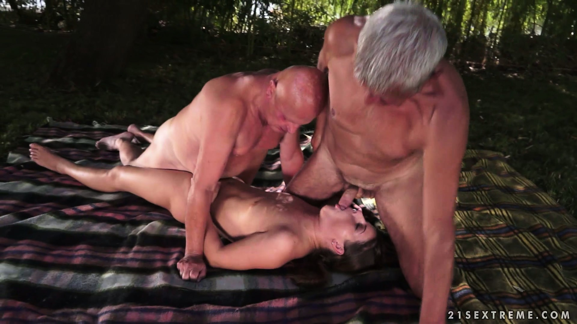 Porno Video of Two Dirty Old Men Find A Feisty Young Brunette In The Woods And Bang Her