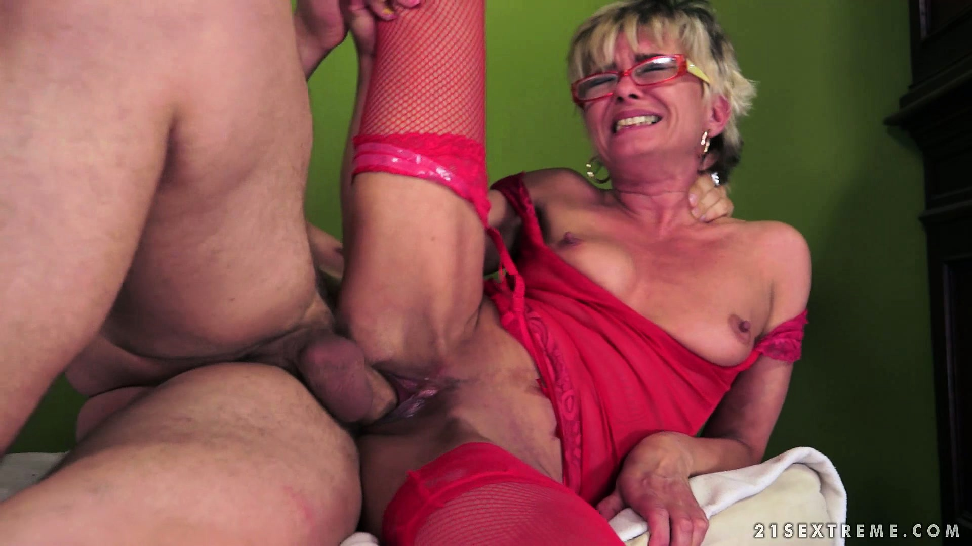 Porno Video of Horny Granny Gets A Young Man's Cock To Fuck Her And Chew On