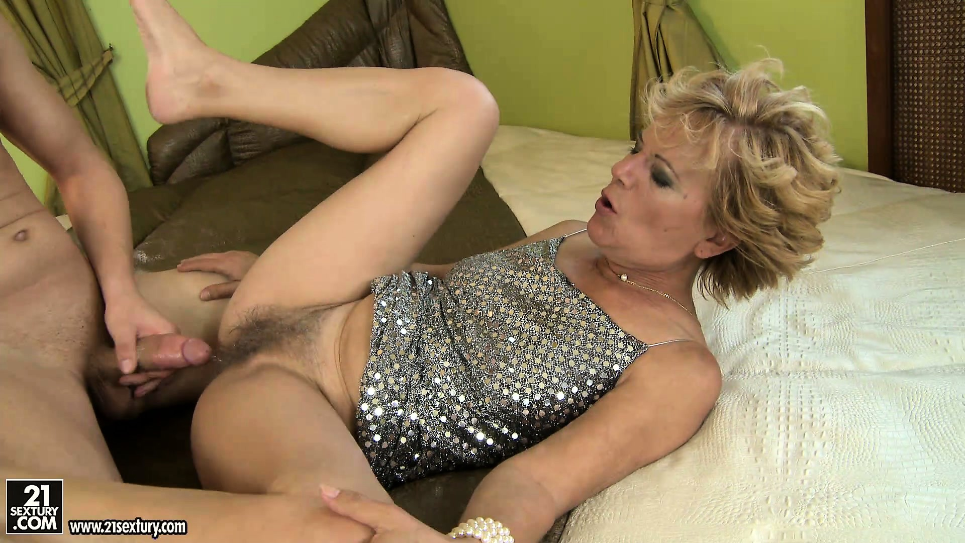 Sex Movie of Blond Grandma Screams As Her Hairy Muff Gets Fucked Balls Deep