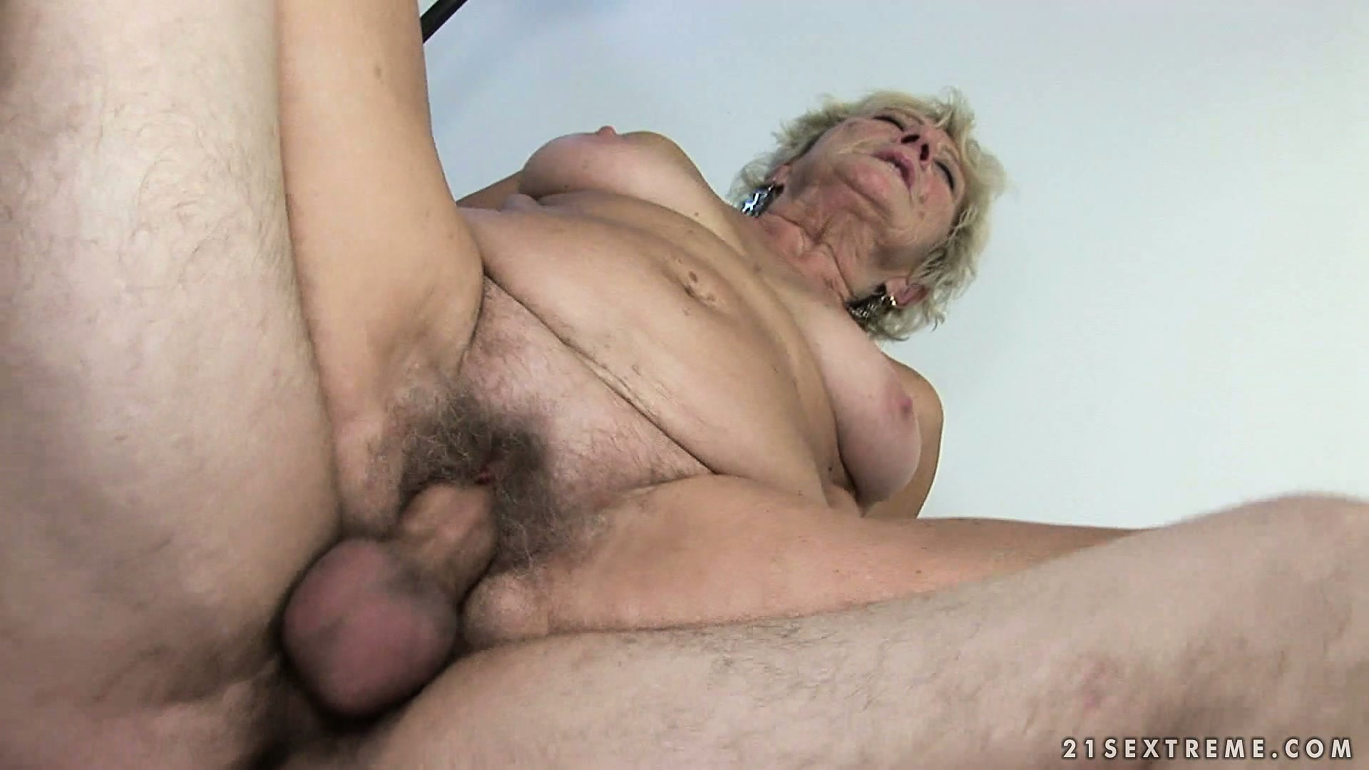 Porn Tube of Blonde Granny Gets Filled In Her Furry Bush With A Nice Young Fuck Stick