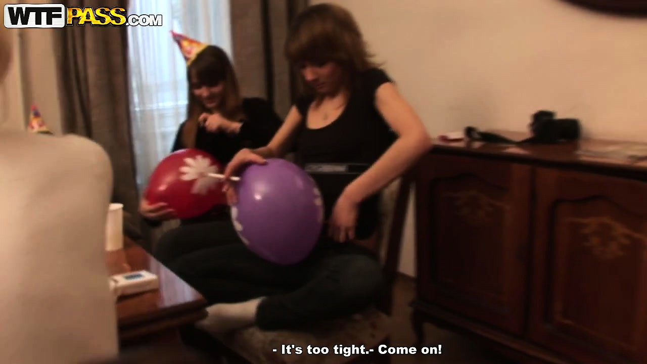 Porn Tube of Filthy College Chicks Have A Blast Drinking At The Party And Playing With Balloons