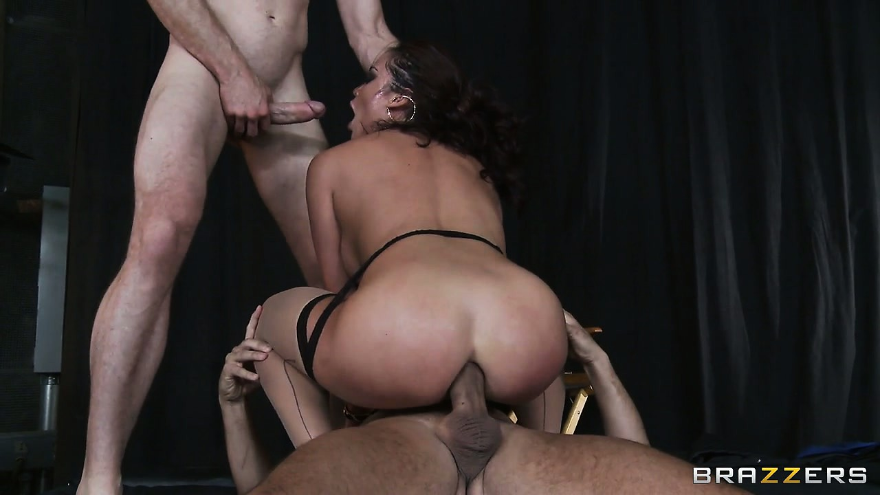Porno Video of The Gorgeous Long-haired Brunette Gets Fucked By Two Guys At The Same Time