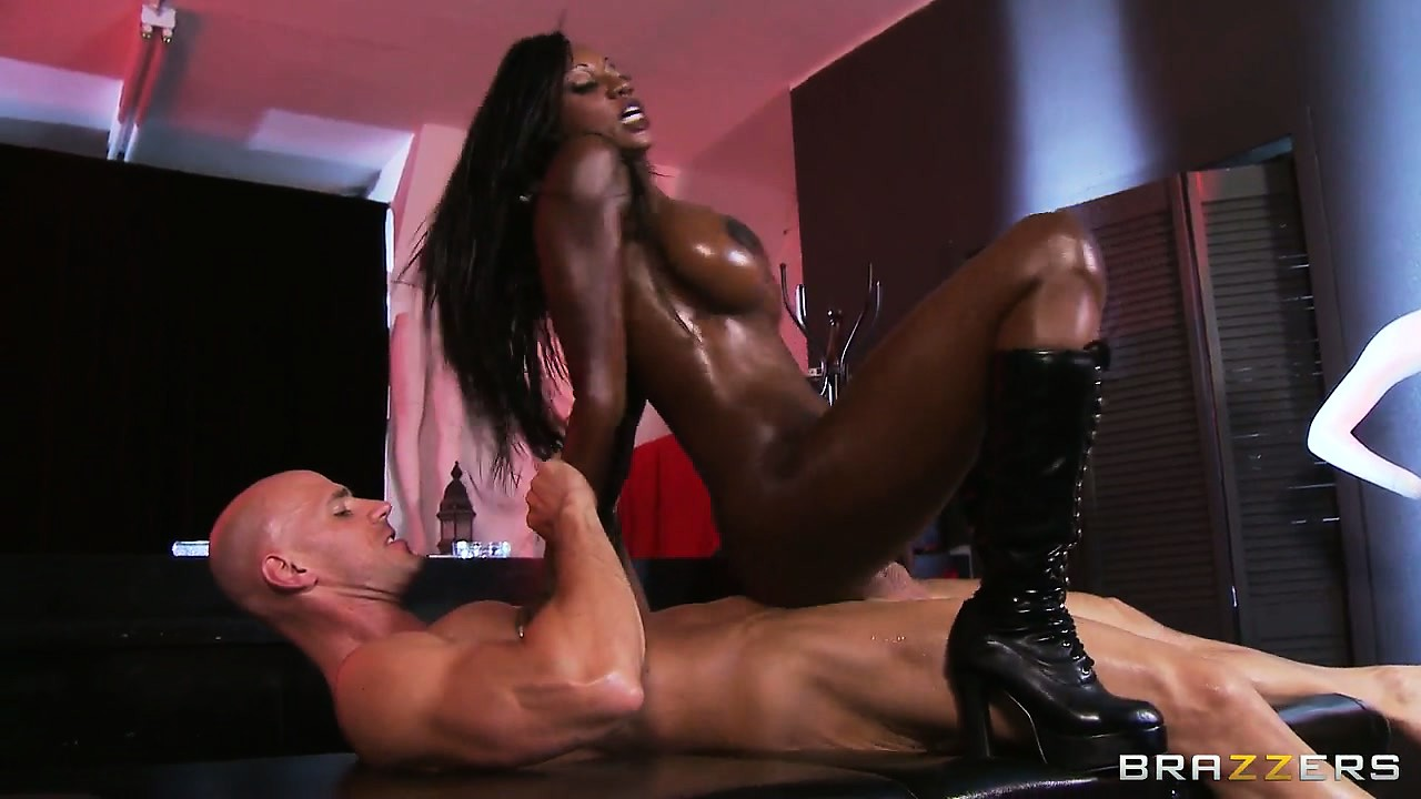 Porno Video of Busty Ebony Babe In High Boots Rides Herself A White Man's Dick