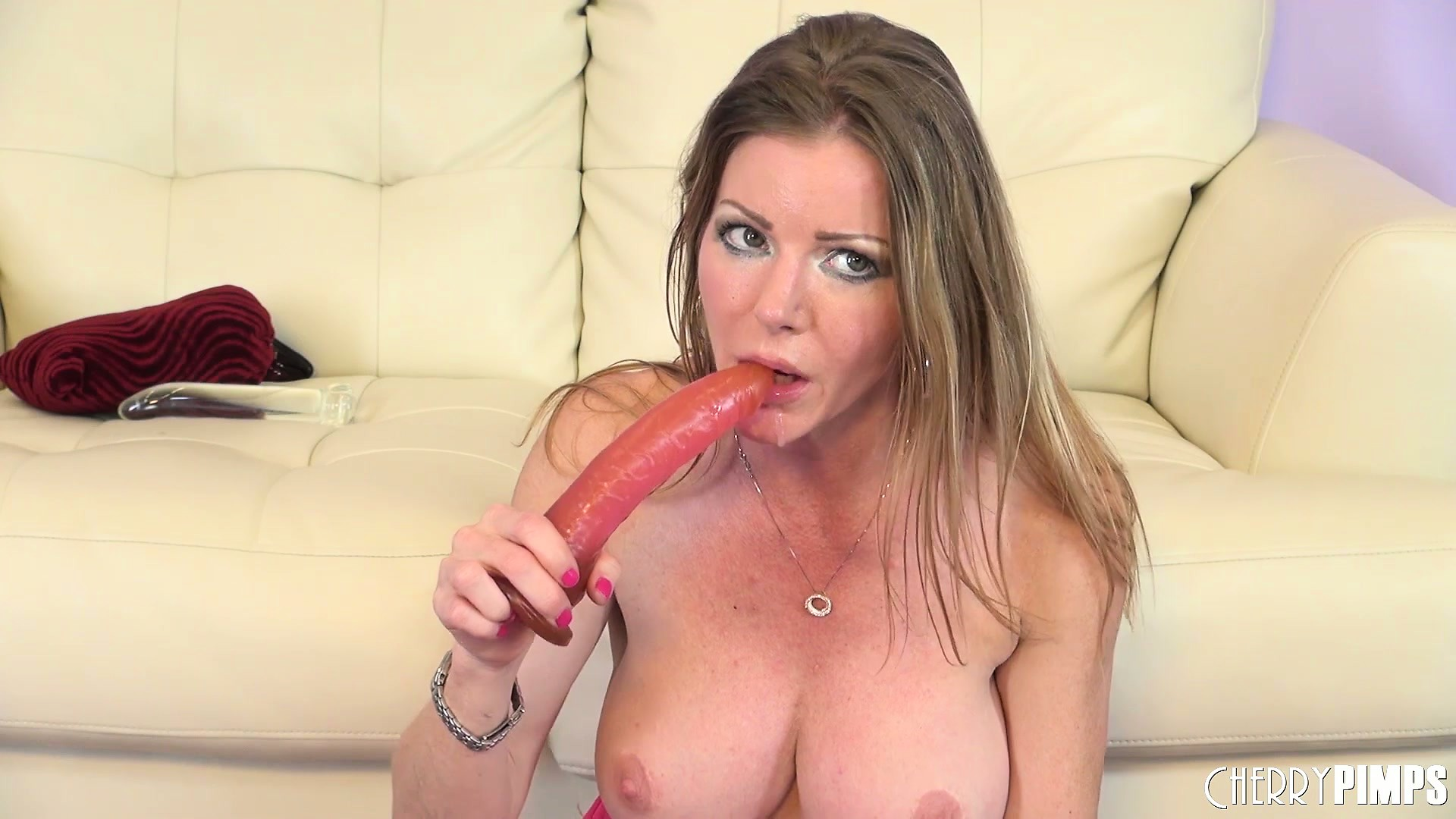 Porn Tube of Amber Michaels Using A Very Long Rubber Cock On Her Pussy And Her Mouth