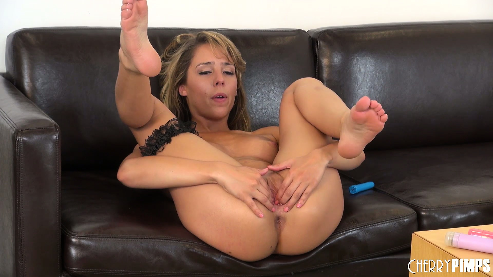 Porn Tube of The Wild Blonde Inserts The Sex Toy As Deep As She Can In Her Twat And Loves It