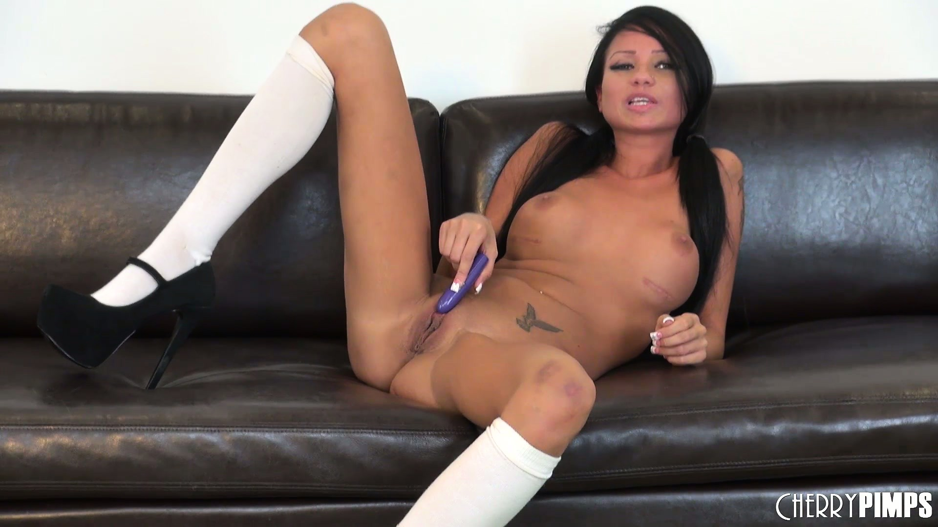 Porno Video of Raven Bay In Sexy Thigh High White Stockings And High Heels Needs Cock
