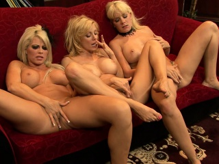 busty brooke haven engages in a hot lesbian threesome on the red couch