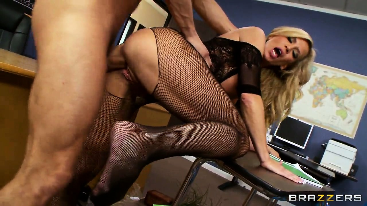 Porno Video of Hot Blonde Hussy With Huge Fake Hooters Wears Crotchless Fishnets For An Easy Fuck