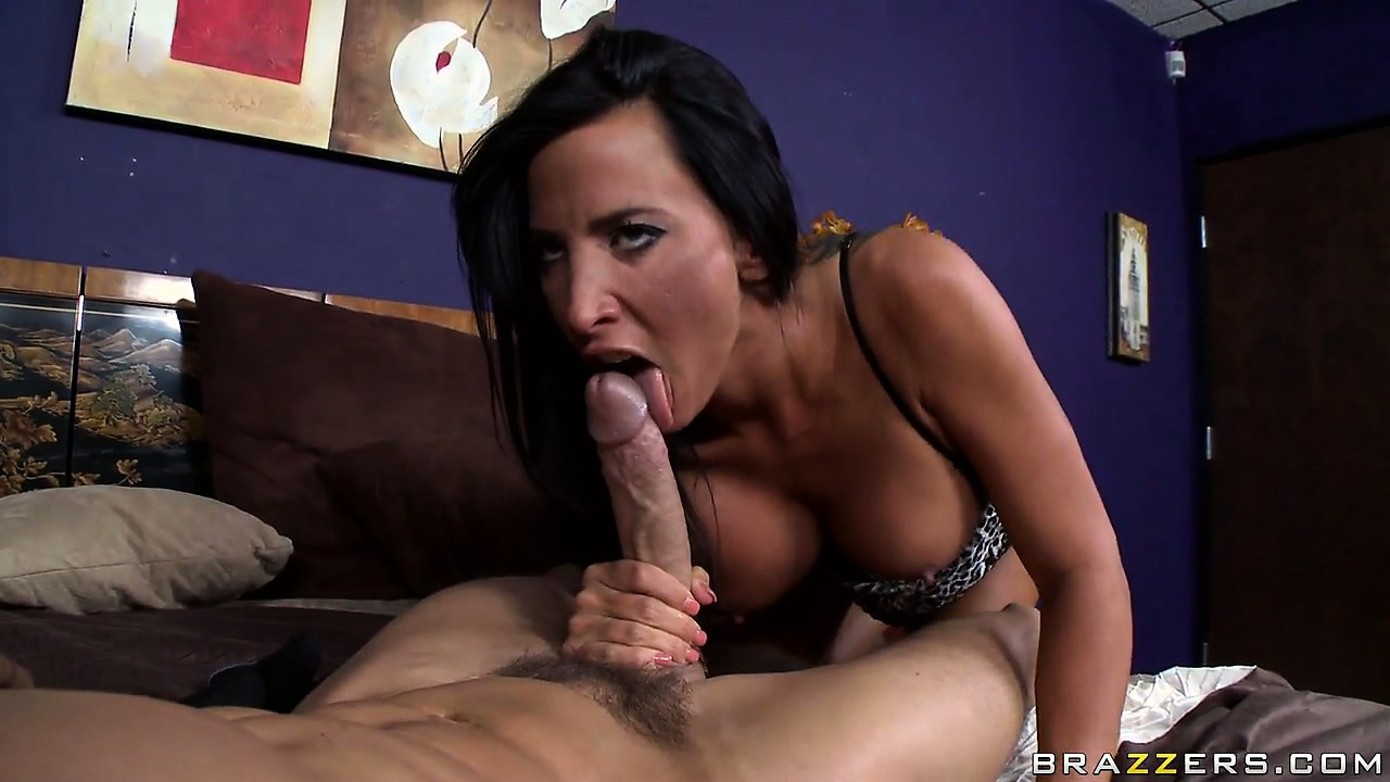 Porn Tube of Busty Brunette Milf With Tattoos Blows His Nimrod To Perfection