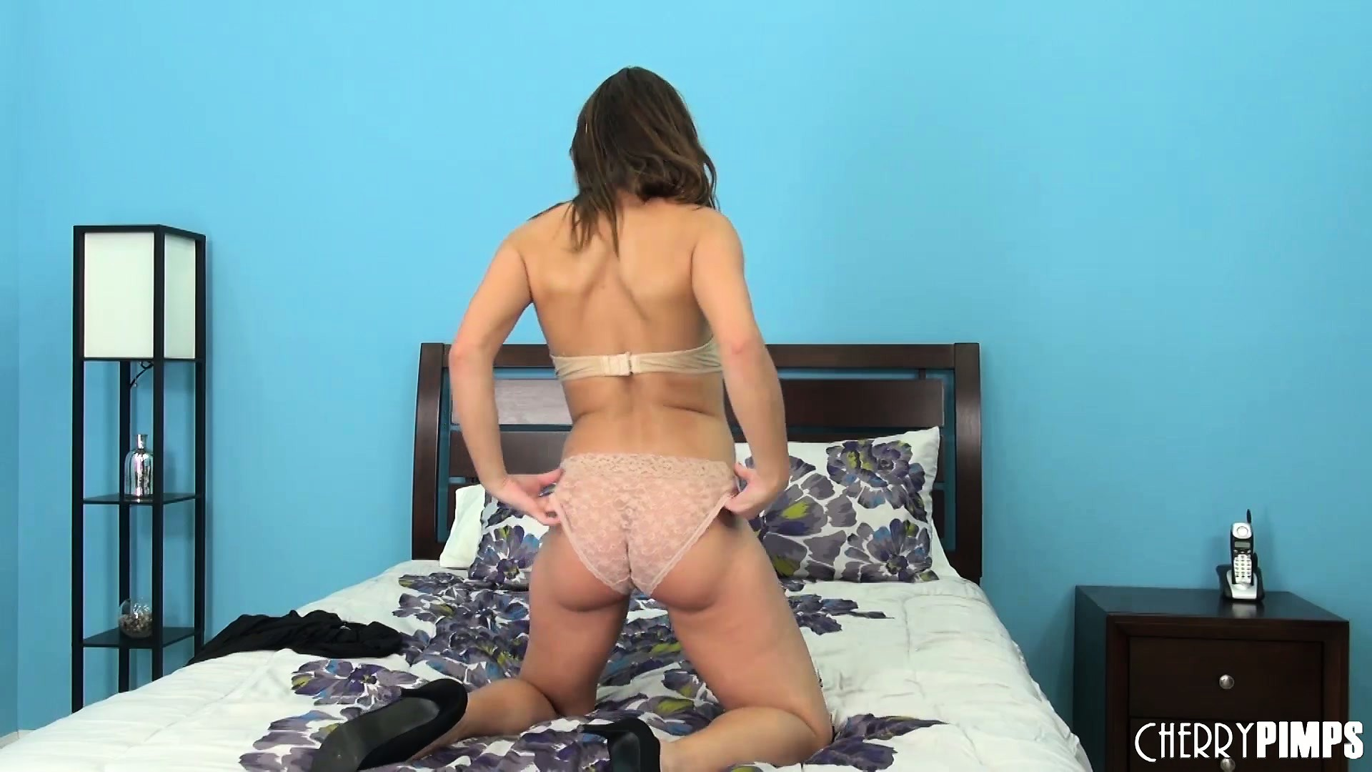 Porno Video of Alyssa Reece On The Bed Stripping Off Her Little Black Dress