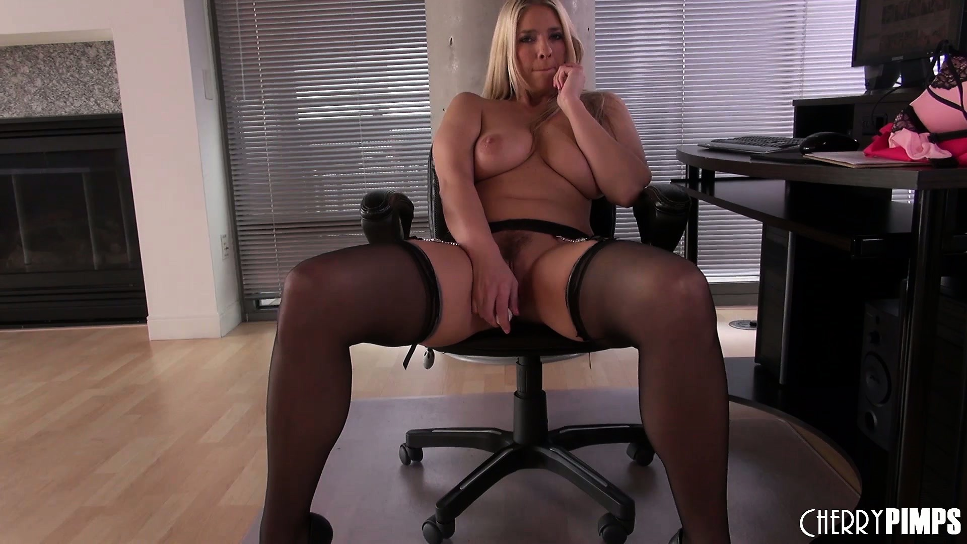 Porno Video of Attractive Blonde With Big Tits Jordan Kingsley Gently Fingers Her Tight Pussy