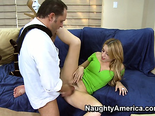 lusty blonde lexi belle lets her lips take a stroll down his stick