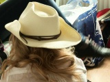 Hot blonde cowgirl loves to get into a threeway with two bucks