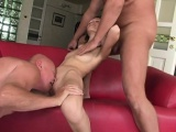 Two mature stallions get into a threesome with a young bombshell