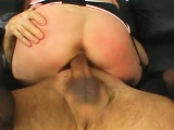 Trashy blonde in black lingerie gets her holes fucked hard by two men