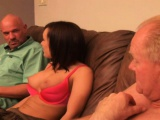 Petite young brunette Jaclyn enjoys her time with two horny old guys
