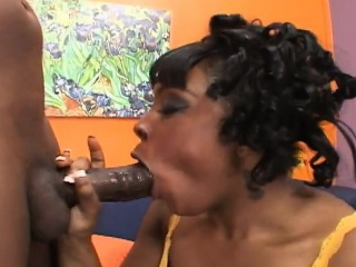cute black babe with tiny tits gets her twat fucked hard and creampied