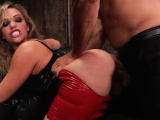 Striking blonde with a heavenly ass has two studs hammering her pussy