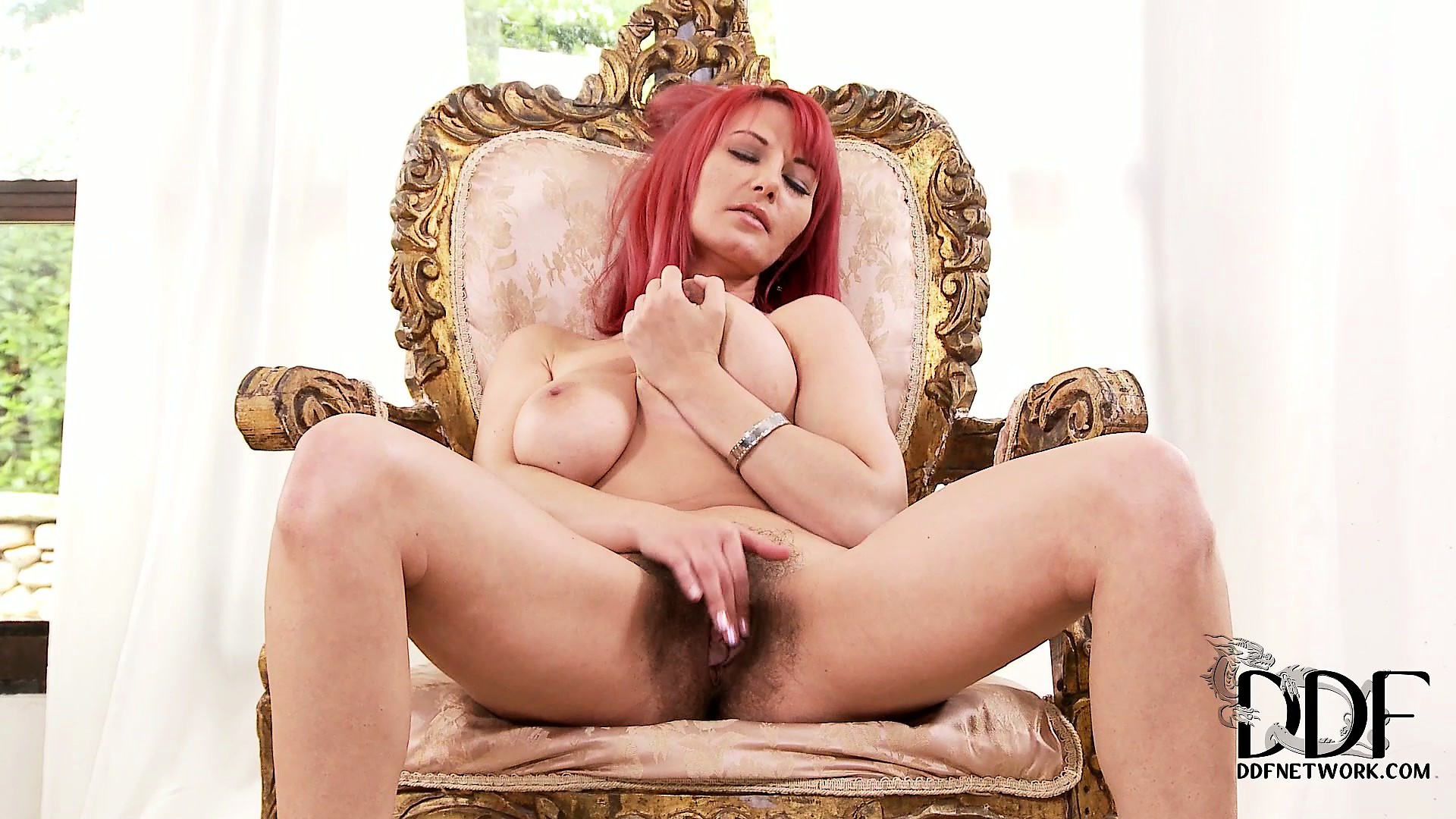 Porno Video of Fiery Redhead Has A Nice Rack On Her Chest And A Warm Hair Pie Between Her Legs