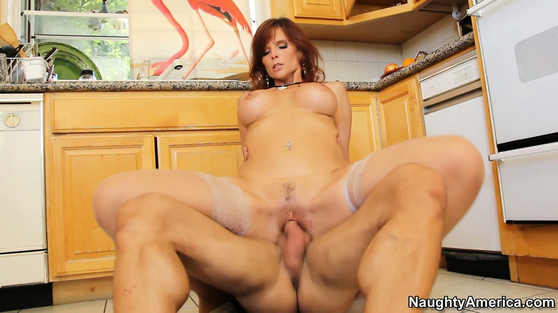 Porno Video of Syren De Mer Rides His Cock On The Kitchen Floor, And Cums Loud