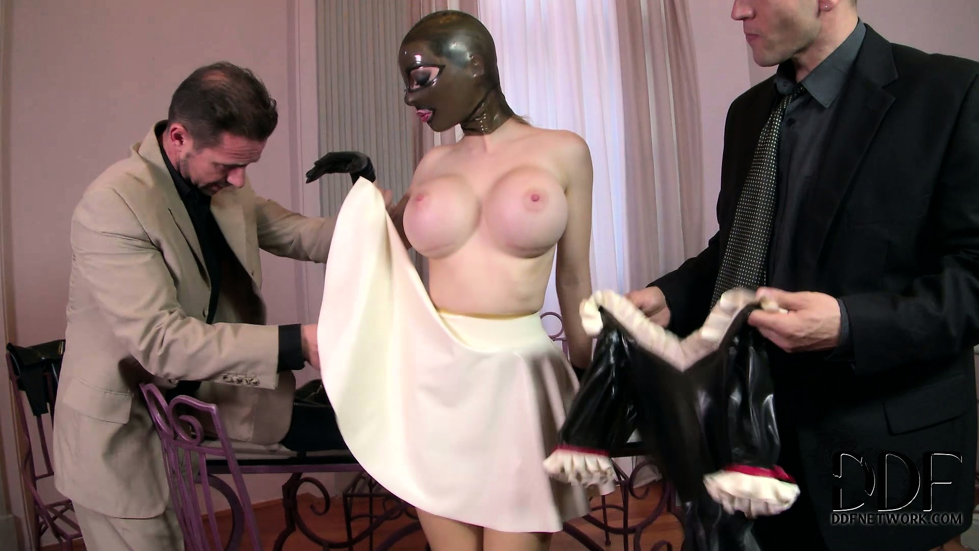Porn Tube of Lucy Goes From Latex Whore To Latex Maid And Kisses His Shoes