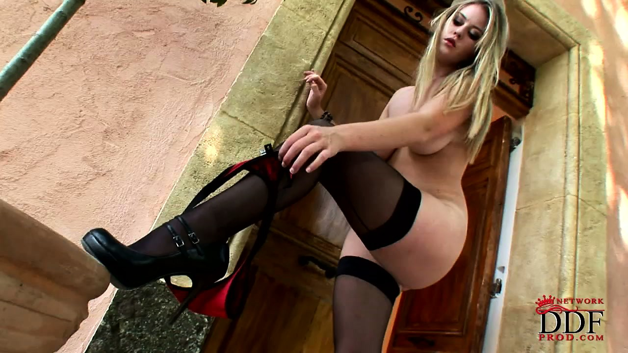 Porno Video of Sultry Blonde Hottie Has Got The Goodies For Your Woody Taking Off Her Sexy Lingerie