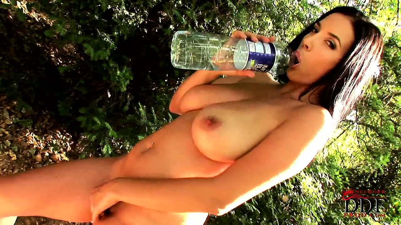 Porno Video of Bushy Brunette Beauty Teases Herself While She's Out Camping