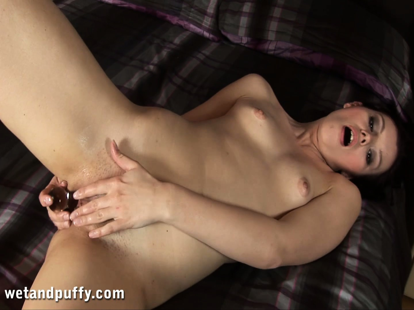 Porno Video of Tight Brunette Babe With A Petite Physique Using A Glass Toy