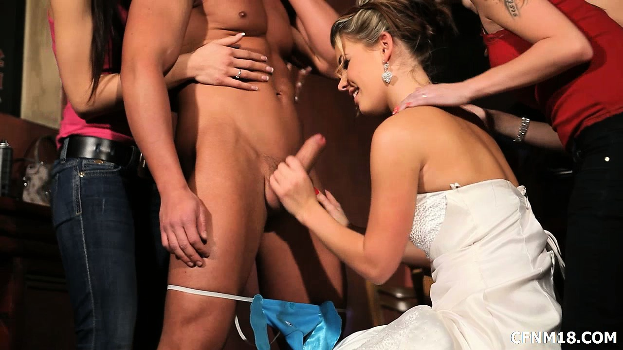 Porn Tube of They Blindfold Her And Bring Out The Surprise, A Thong Wearing Stripper