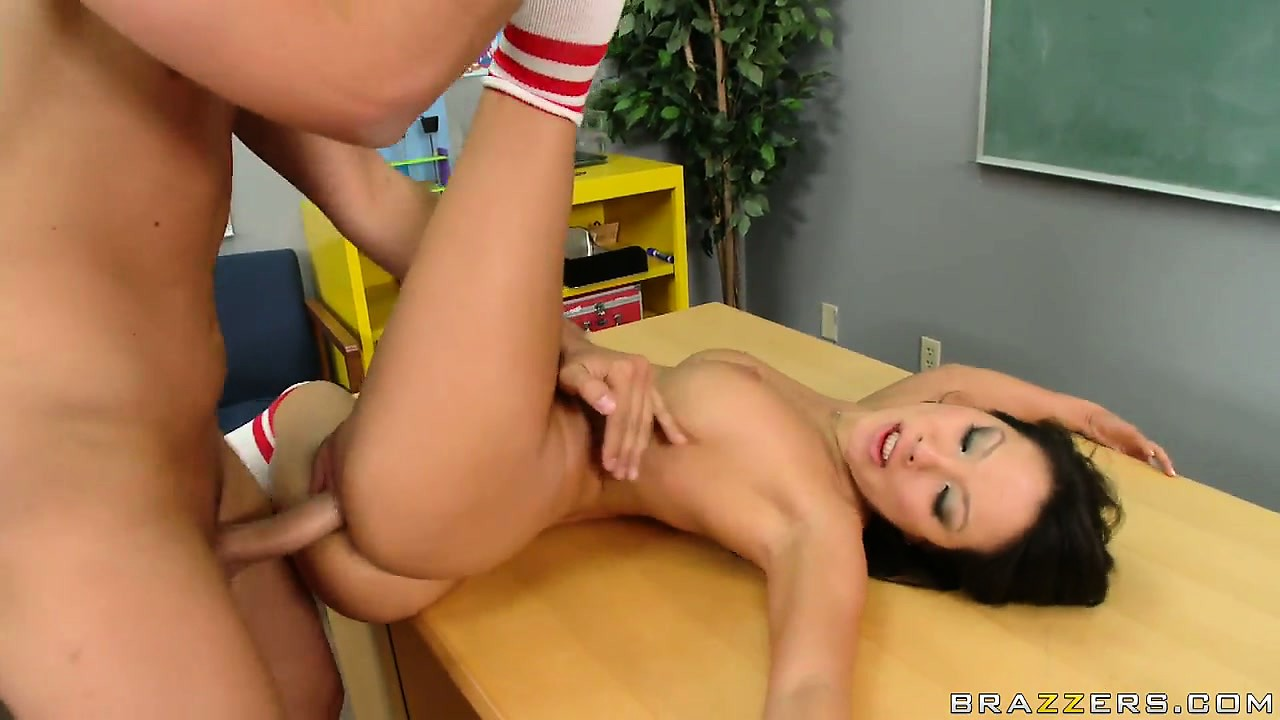 Porn Tube of She Lies On The Table And Spreading Her Slender Legs Wide Open Gets Drilled Deep
