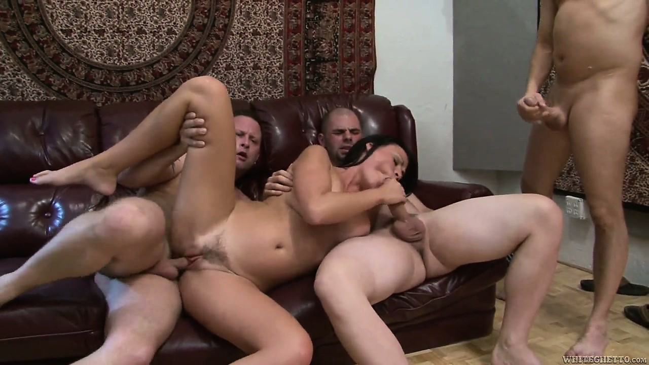 Porn Tube of One After The Other, This Brunette Mom Takes All Three Cocks On And Wins
