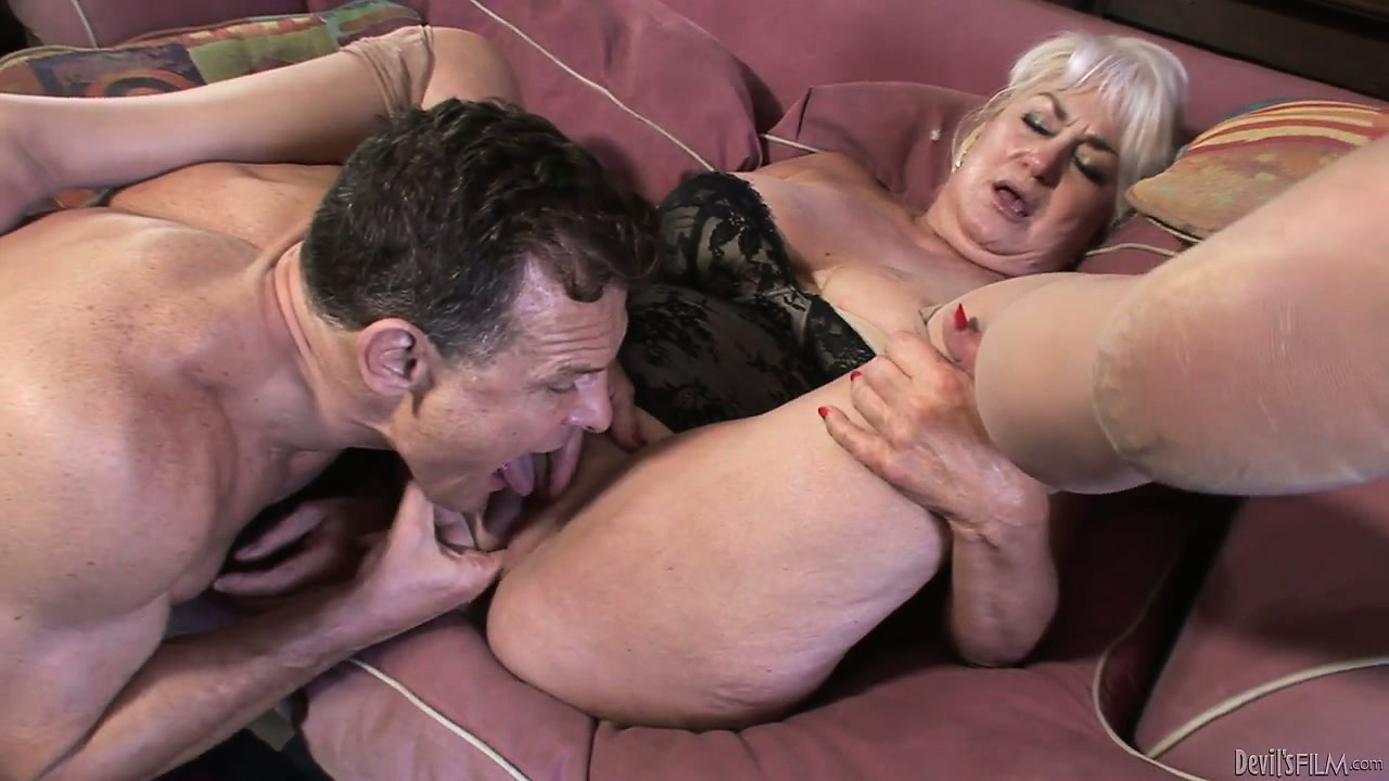 Porno Video of Naughty, White Haired Granny Slurps On His Stiff Rod Before Taking It In Her Mossy Muff