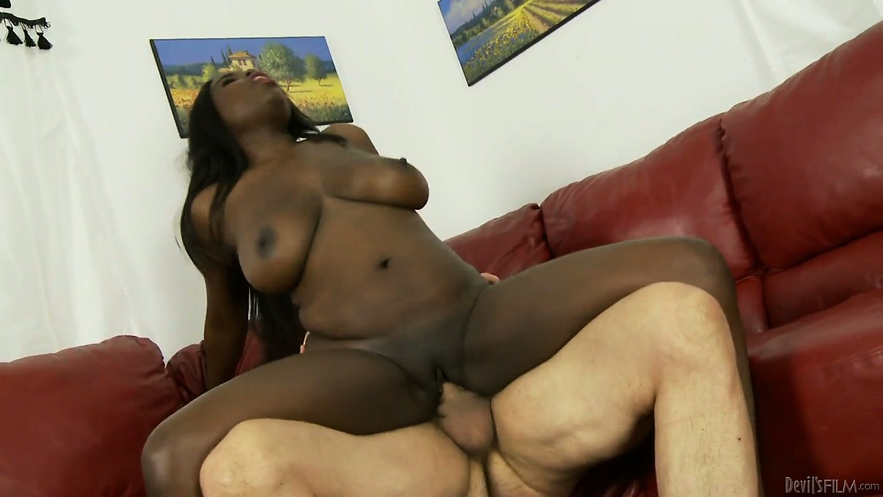Porno Video of Interracial Fucking With A Big Tit Ebony Riding On His White Shaft