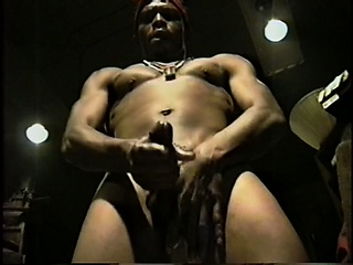 two black boys with muscled boys stroke their big rods until they cum