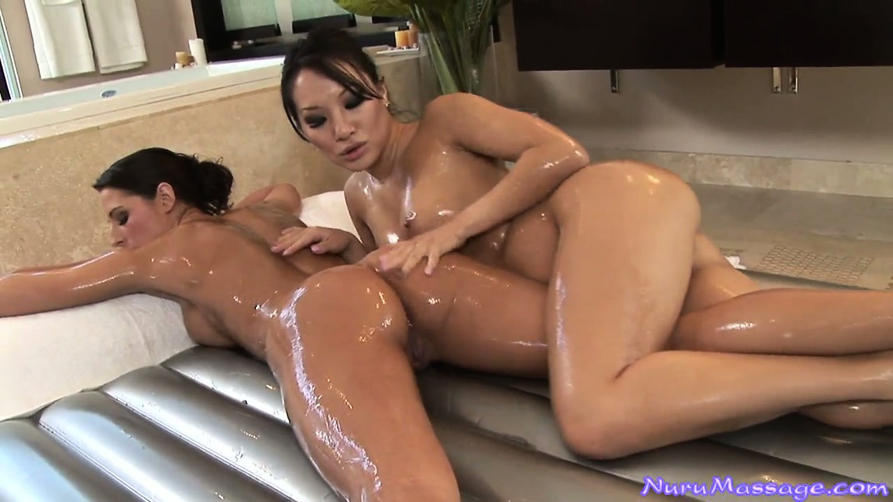 Porn Tube of Lesbian Nuru Massage With Two Horny Sweet Babes, A Asian And A Brunette