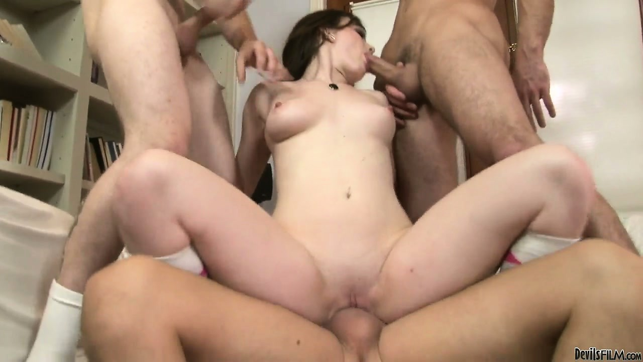 Porn Tube of Sweet University Babe Banged Hard In Her Sweet Ass And Pussy By Three Horny Dudes