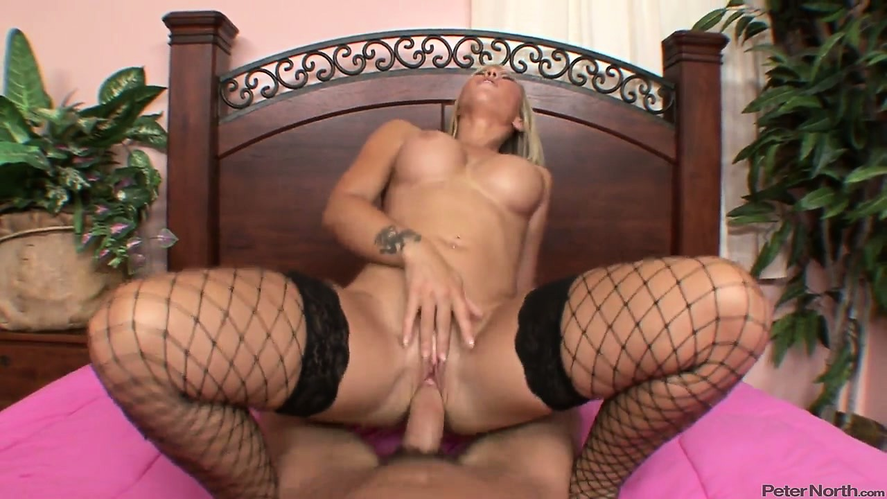 Porn Tube of Blonde Beauty In Fishnet Stockings Rides His Cock In A Pov Cowgirl Pose