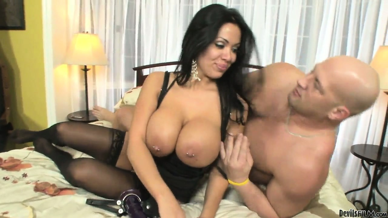 Porn Tube of Stacked Brunette Babe Makes Her Man Suck On Her Black Strap-on