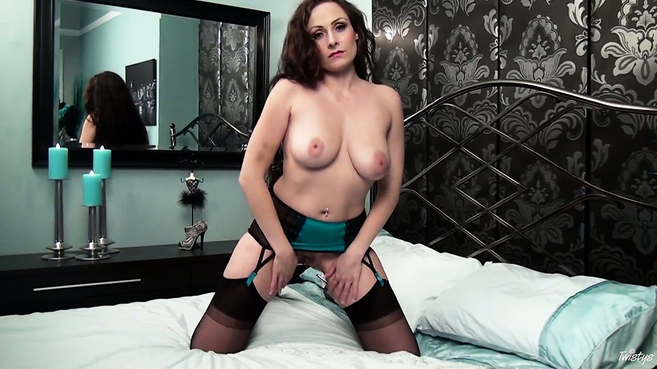 Porn Tube of Busty Brunette In Lingerie Undresses, Spreads Wide And Touches Herself