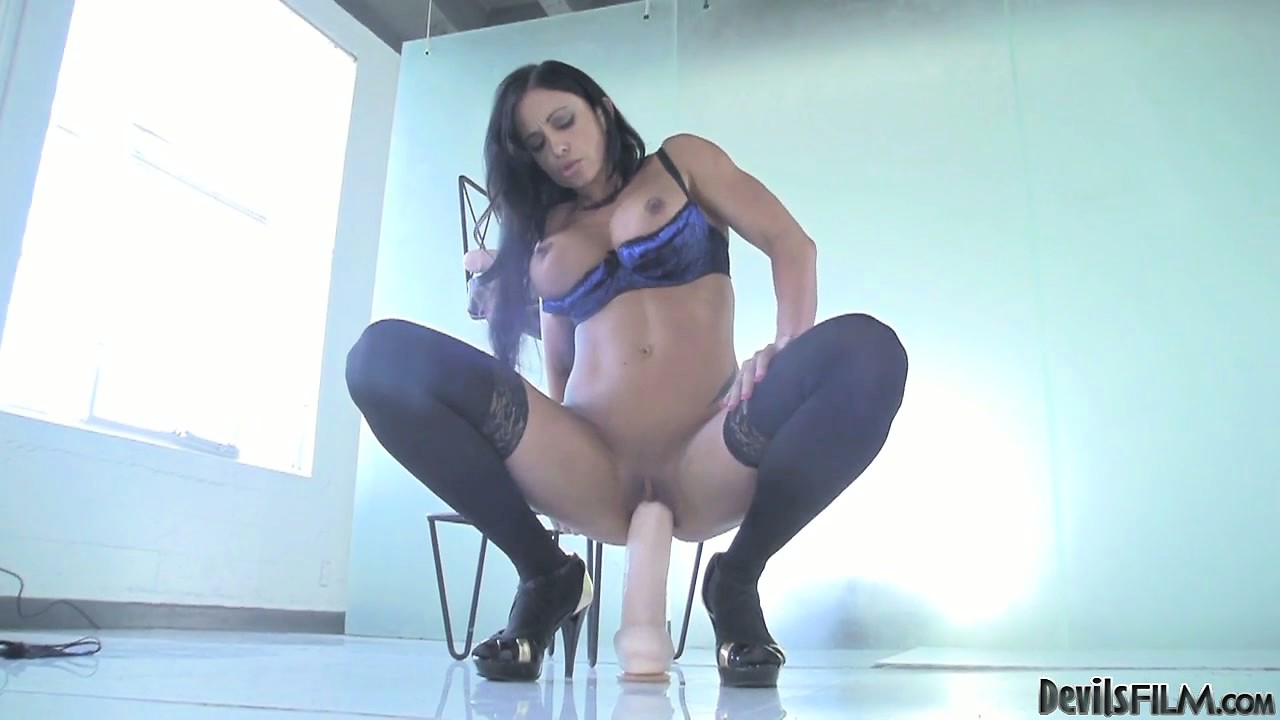 Porno Video of Buxom Brunette Hottie Is Riding Her Huge Dildo And Shoving It Deep In
