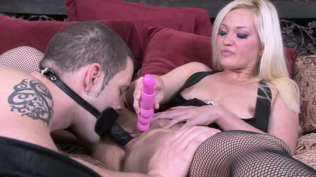 Porno Video of He Face Fucks Her With The Strap On, And She Uses The Pink Toy To Cum Even More