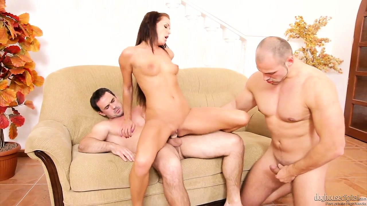 Porn Tube of Two Bisexual Dudes With A Brunette Cutie Slurp Bone And Bang Cunt