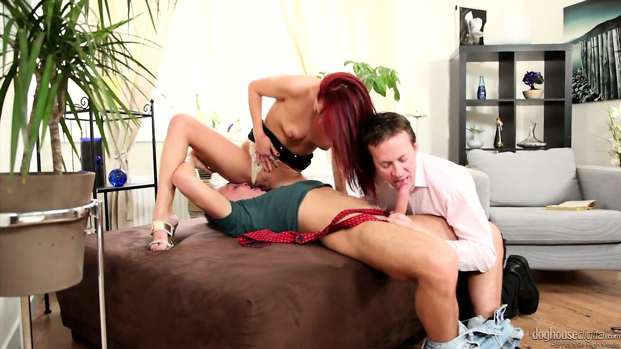 Porn Tube of Hot Redhead Babe Fucked By A Horny Dude Who Gets His Cock Sucked By The Boyfriend