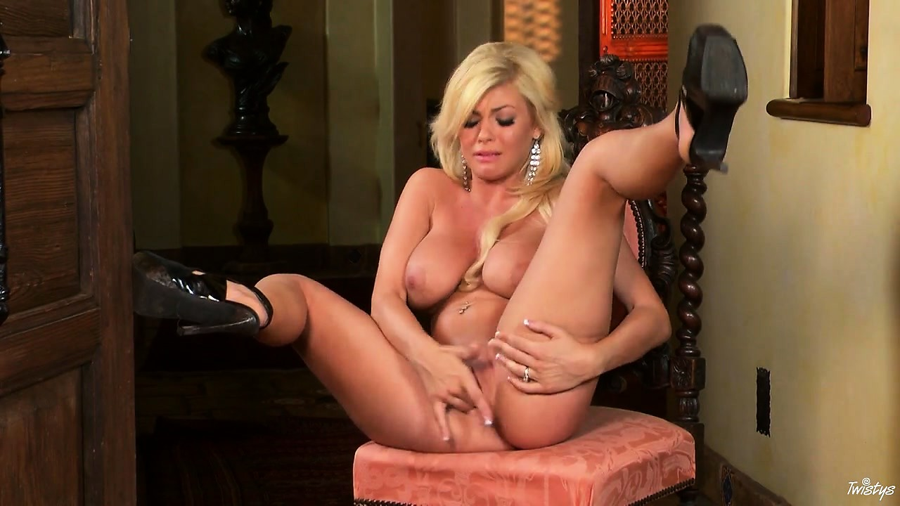 Porn Tube of Blonde Bombshell With Huge Hooters Finger Fucks Her Juicy Love Hole