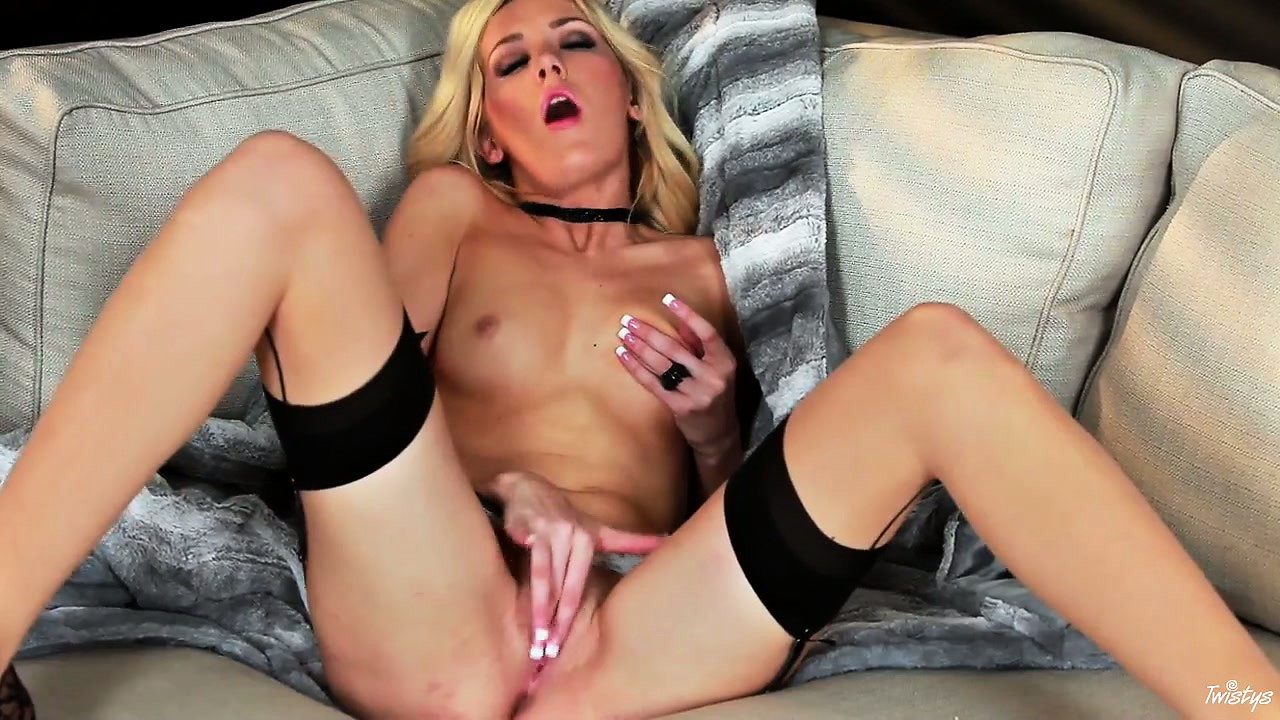 Porno Video of The Black Lace On Her Stockings Stands Out Against Her White Skin