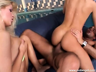 two beautiful girls invite a hung stud to drill their fiery asses deep