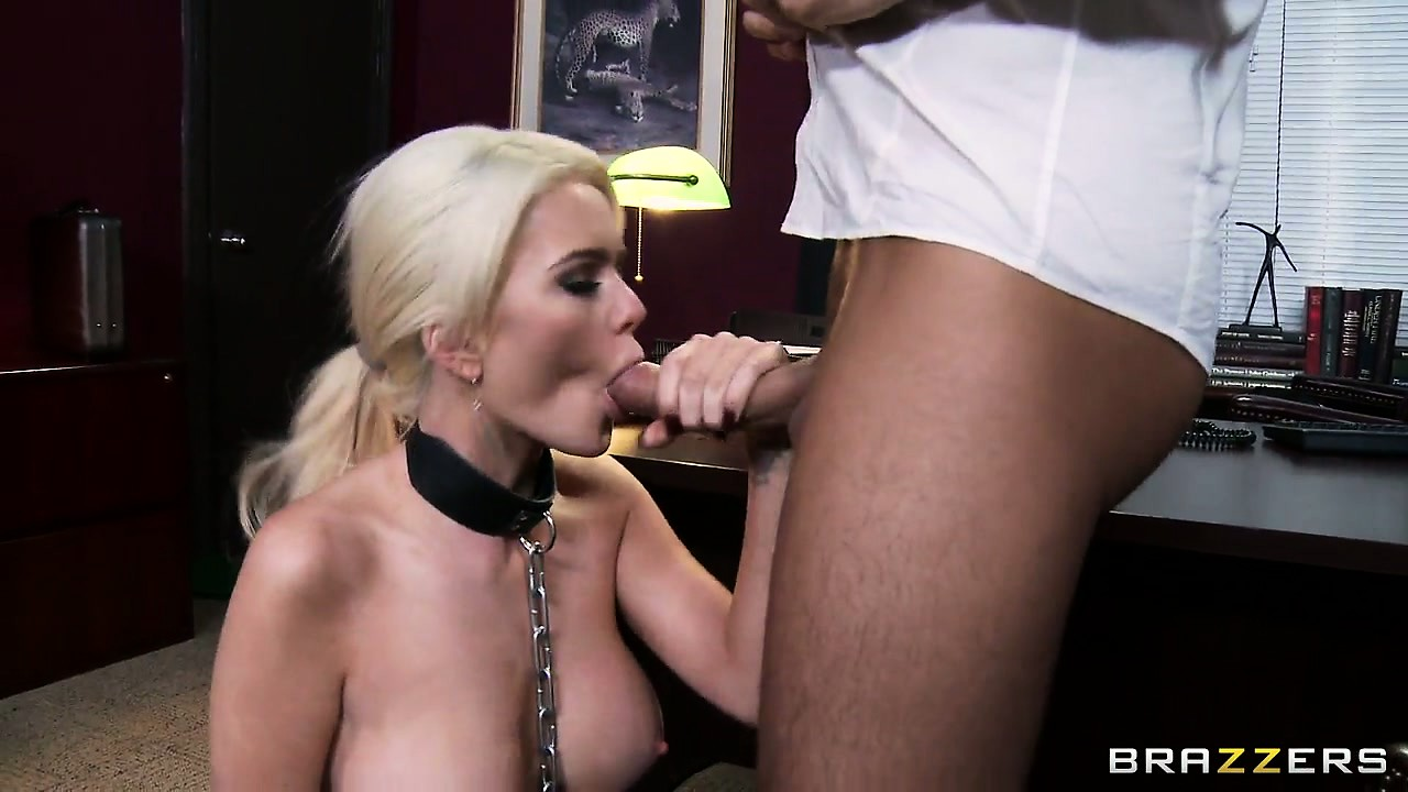 Porno Video of Busty Blonde Babe Gets Collared By Her Boss And Chomps His Rod