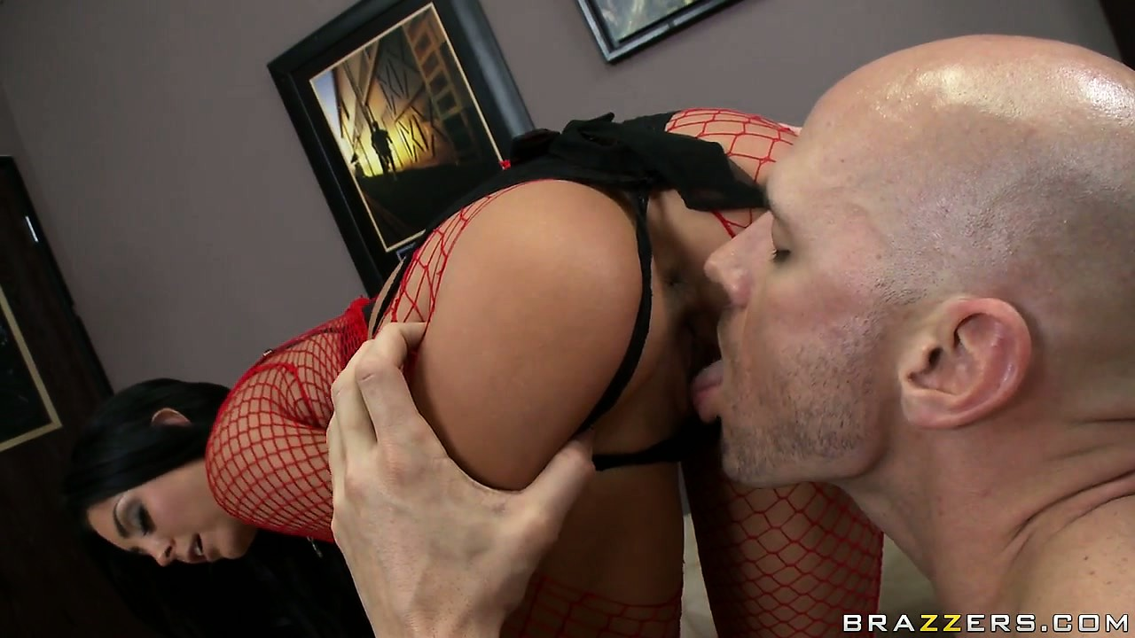 Porn Tube of Brunette Hottie In Sexy Red Fishnet Stockings Goes For The Cock Sucking