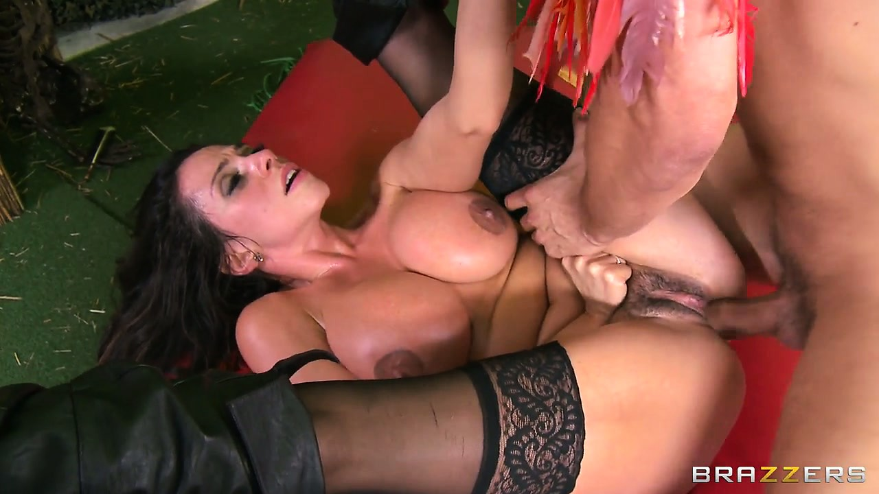 Porno Video of Hot Brunette Babe's Huge Melons Are Cream Covered From The Voodoo Doctor